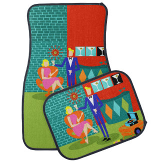 Retro Martini Couple Car Mats