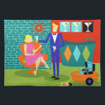 """Retro Martini Couple Cloth Placemat<br><div class=""""desc"""">This Retro Martini Couple Cloth Placemat looks like a scene out of a romantic comedy. The setting of this 1960&#39;s style, minimalist art design is an elegantly decorated, mid century modern house or apartment. The cast is an attractive couple enjoying an evening filled with sparkling conversation, good music and bottomless...</div>"""