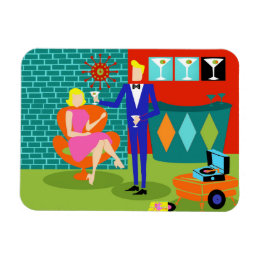 Retro Martini Couple Flexible Magnet