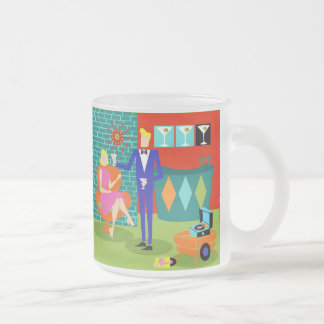 Retro Martini Couple Frosted Glass Mug