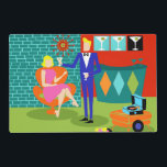 """Retro Martini Couple Laminated Placemat<br><div class=""""desc"""">This Retro Martini Couple Laminated Placemat looks like a scene out of a romantic comedy. The setting of this 1960&#39;s style, minimalist art design is an elegantly decorated, mid century modern house or apartment. The cast is an attractive couple enjoying an evening filled with sparkling conversation, good music and bottomless...</div>"""