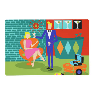 Retro Martini Couple Laminated Placemat