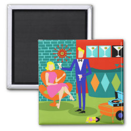 Retro Martini Couple Magnet
