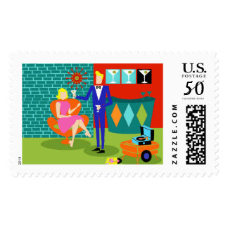 Retro Martini Couple Postage Stamps