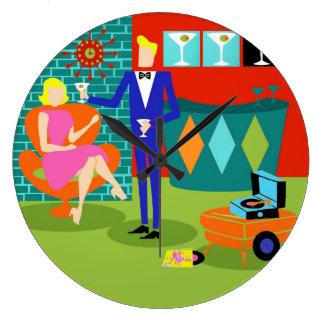 Retro Martini Couple Round Acrylic Wall Clock