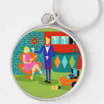 Retro Martini Couple Round Keychain