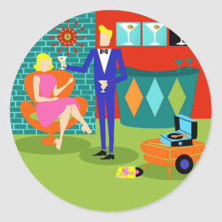 Retro Martini Couple Stickers