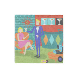Retro Martini Couple Stone Magnet