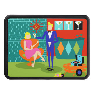 Retro Martini Couple Trailer Hitch Cover