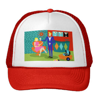 Retro Martini Couple Trucker Hat