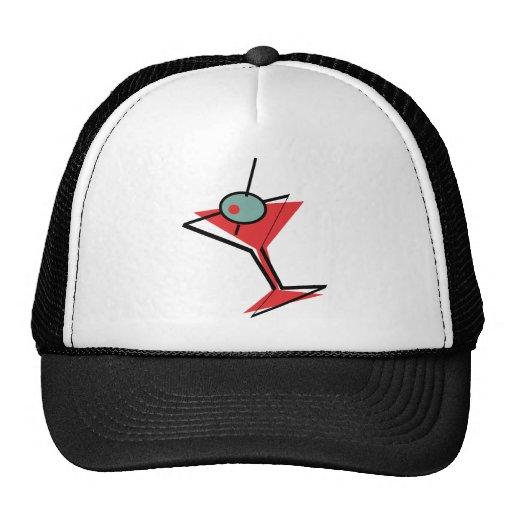 Retro Martini Glass and Olive Trucker Hat
