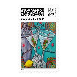 Retro Martini Postage Stamp