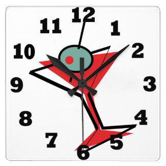 Retro Martini Time Square Wall Clock