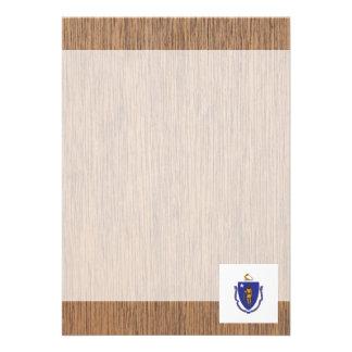 """Retro Massachusetts Flag 5"""" X 7"""" Invitation Card"""