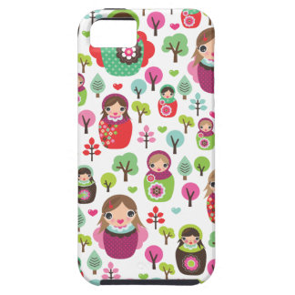 Retro matryoshka russian dolls kids pattern iPhone 5 cases