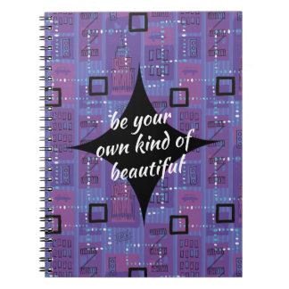 Retro Mauve Blue Black Abstract Motivational Notebook