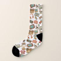 Retro Media Pattern socks