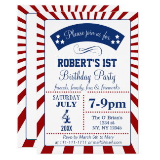 Retro memorial day birthday party invitations