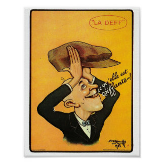 Retro men hat French advertisement funny cap Poster