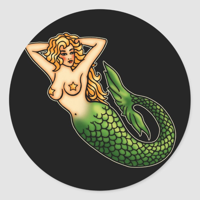 Retro Mermaid Classic Round Sticker  Zazzle