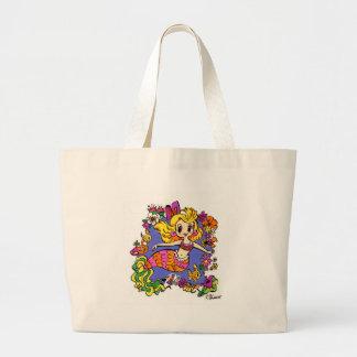 Retro Mermaid Floral design Large Tote Bag