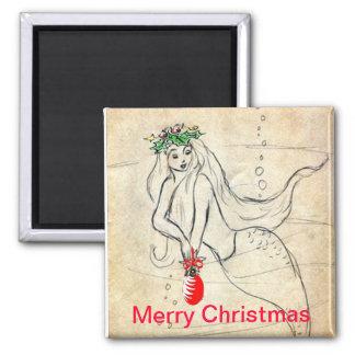 Retro Mermaid Merry Christmas Magnet