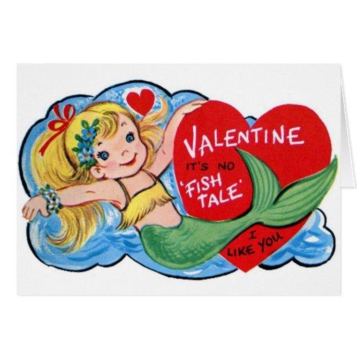 Retro Mermaid Valentine's Day Card
