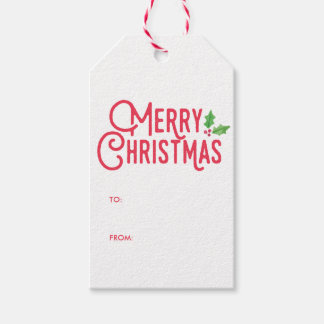 Retro Merry Christmas Gift Tags