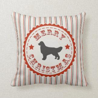 Retro Merry Christmas Golden Retriever Dog Pillow