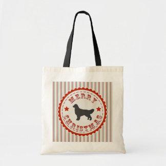 Retro Merry Christmas Golden Retriever Holiday Dog Tote Bag