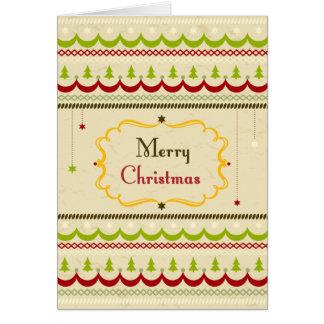 Retro Merry Christmas Greeting Greeting Cards