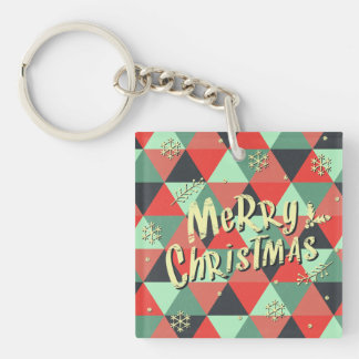 Retro Merry Christmas Greeting Double-Sided Square Acrylic Keychain