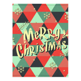 Retro Merry Christmas Greeting Post Cards