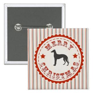 Retro Merry Christmas Greyhound Dog Pinback Button