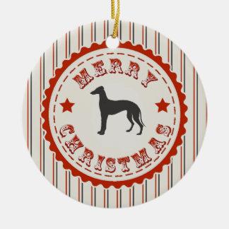 Retro Merry Christmas Greyhound Dog Ceramic Ornament