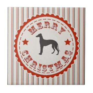 Retro Merry Christmas Greyhound Dog Ceramic Tile