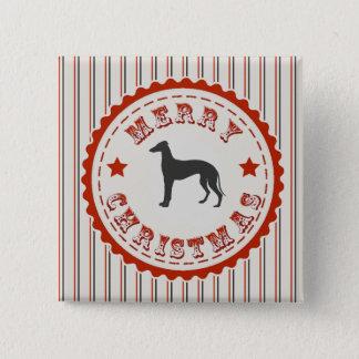 Retro Merry Christmas Greyhound Dog Festive Button