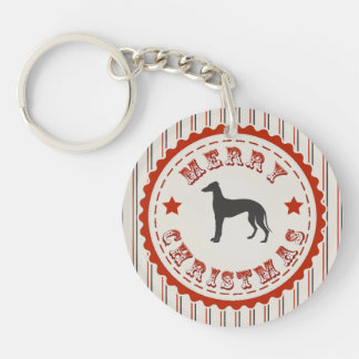 Retro Merry Christmas Greyhound Dog Keychain