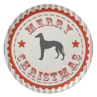 Retro Merry Christmas Greyhound Dog Melamine Plate