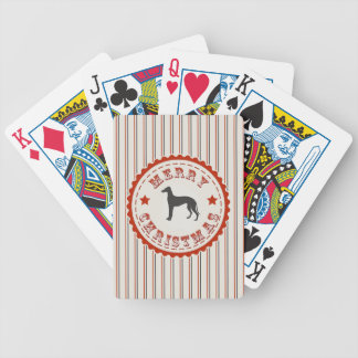 Retro Merry Christmas Greyhound Dog Bicycle Playing Cards