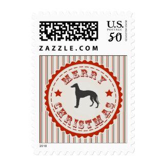 Retro Merry Christmas Greyhound Dog Postage