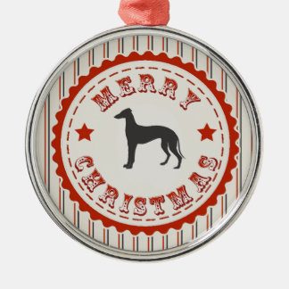 Retro Merry Christmas Greyhound Dog Round Metal Christmas Ornament