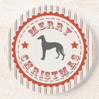 Retro Merry Christmas Greyhound Dog Sandstone Coaster
