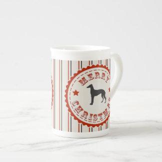 Retro Merry Christmas Greyhound Dog Tea Cup