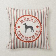 Retro Merry Christmas Greyhound Dog Throw Pillow