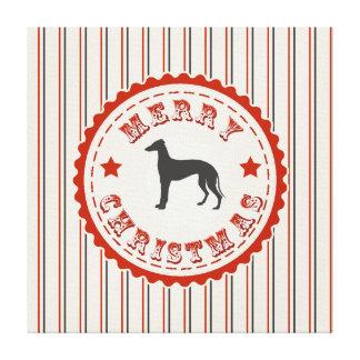 Retro Merry Christmas Greyhound Dog Vintage Emblem Canvas Print
