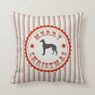 Retro Merry Christmas Greyhound Vintage Holiday Throw Pillow