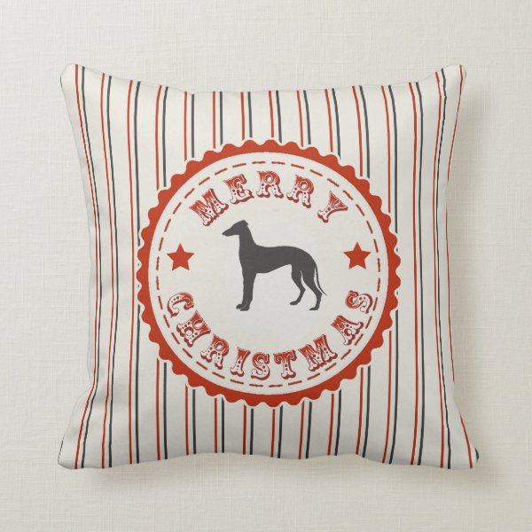 Retro Merry Christmas Greyhound Vintage Holiday Throw Pillow