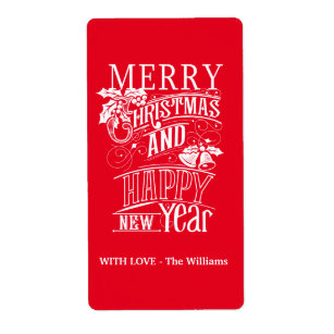 retro merry christmas happy new year label