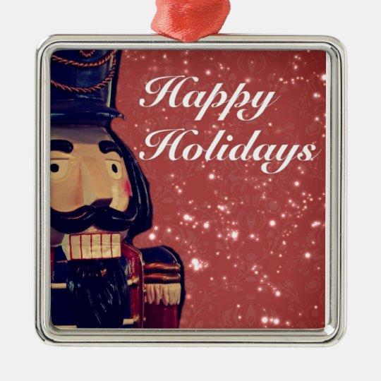Retro Merry Christmas Holiday Vintage Nutcracker Metal Ornament